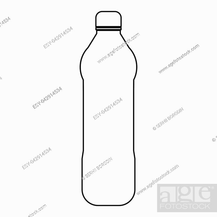 Vector: Water plastic bottle it is the black color icon .