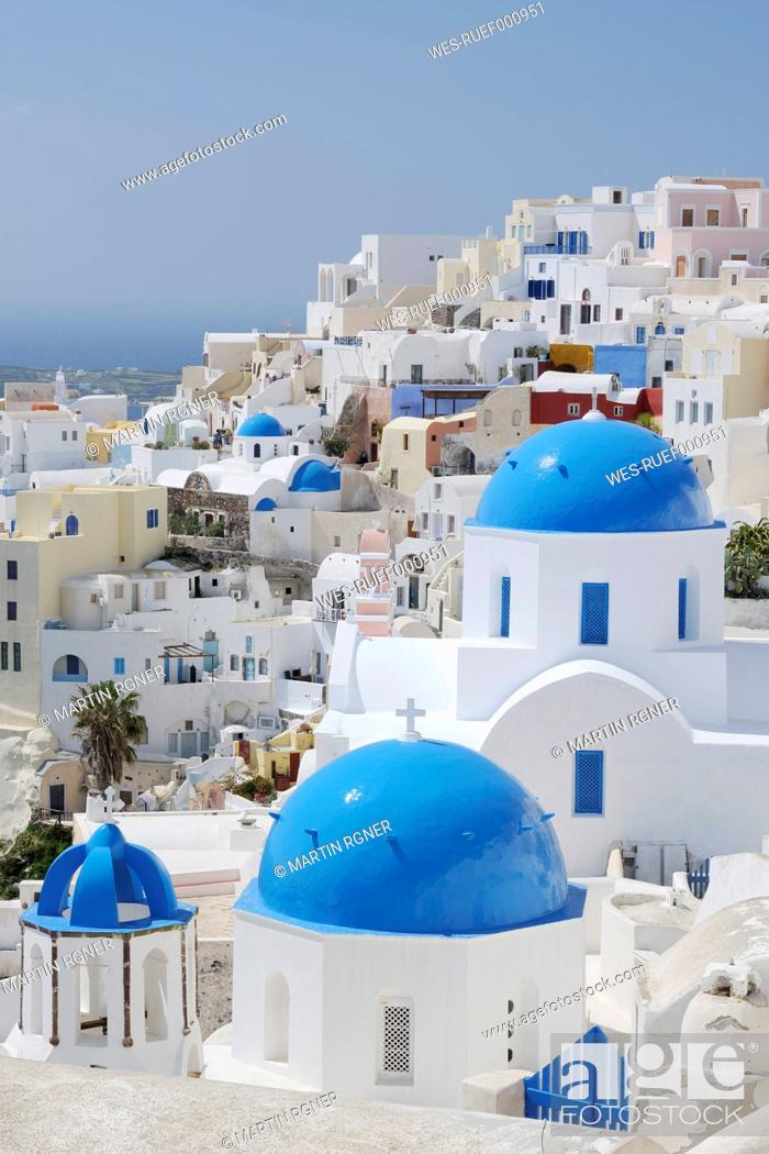 Stock Photo: Greece, View of classical whitewashed church of Cyclades at Oia.