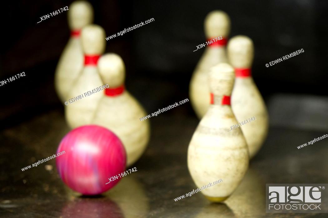 Stock Photo: Duckpin bowling.