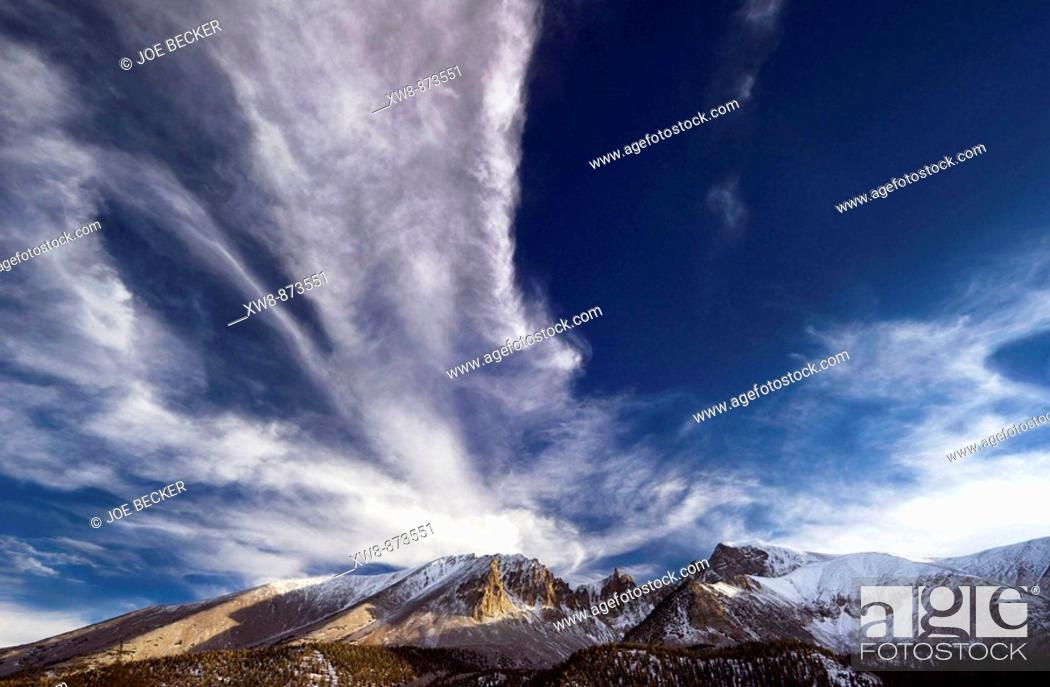 Stock Photo: Mount Wheeler and Jeff Davis Peak in Great Basin National Park, Neveda.