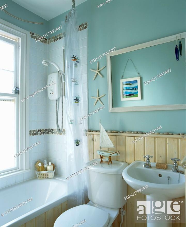 Calming Bathroom Ideas: Tongue+groove Dado Panelling In Small Bathroom With
