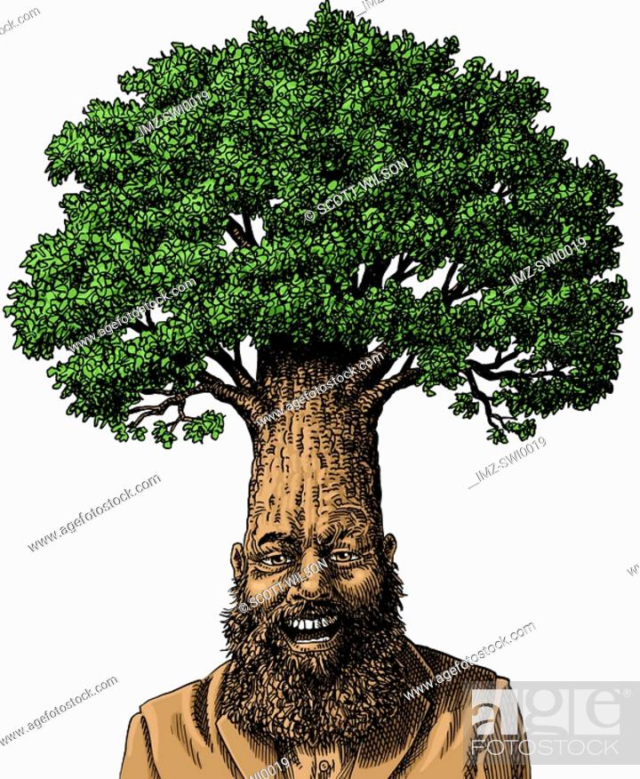 Stock Photo: An illustration of a man wearing a business suit with a mature tree growing from his head.