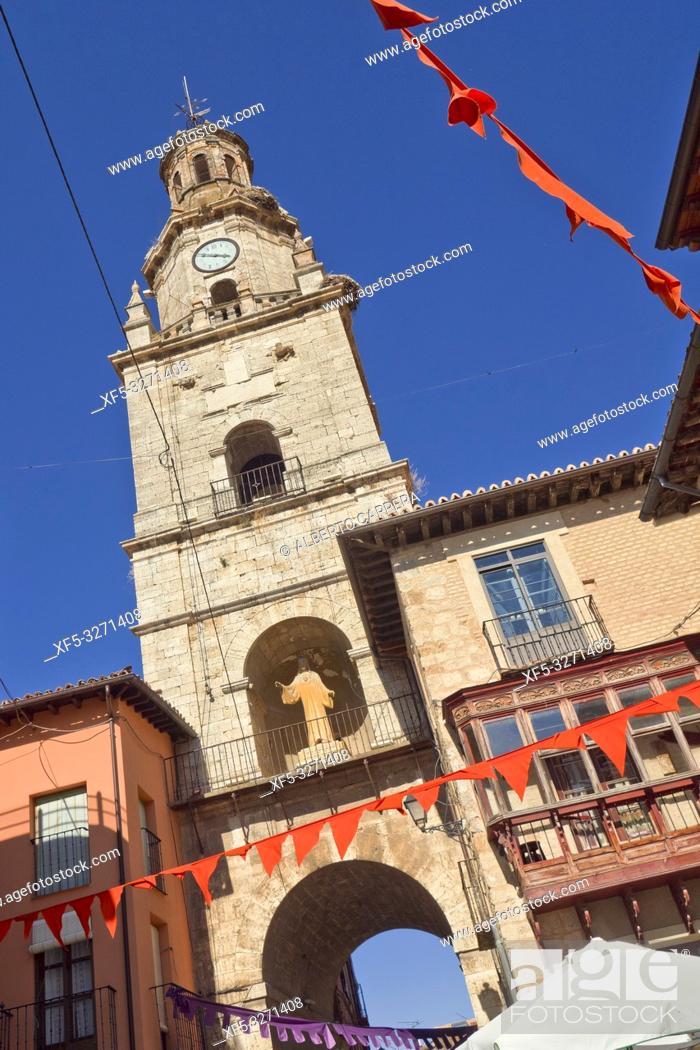 Stock Photo: Arco del Reloj, Torre del Reloj, 17th Century Clock Tower, Puerta del Mercado, Old Town, Toro, Zamora, Castilla y León, Spain, Europe.