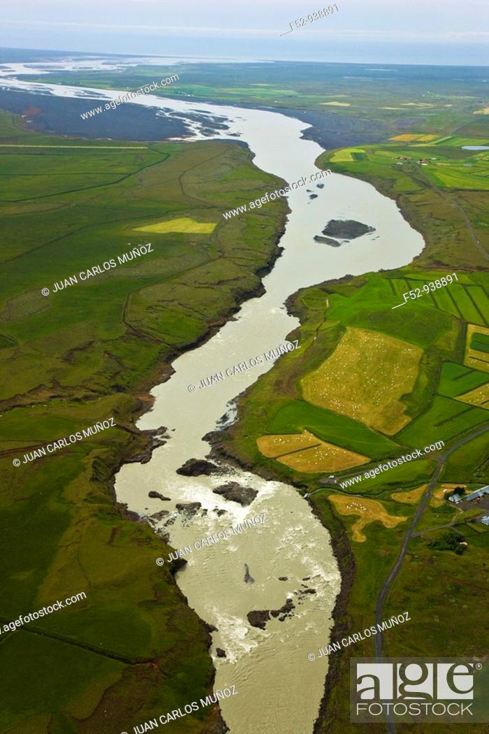 Stock Photo: Markurflijól river. Mýrdalsjökull Glacier. South of Iceland.