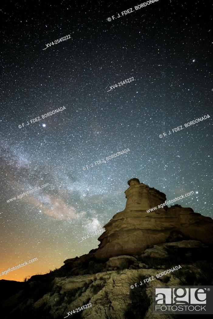 Stock Photo: Milky way over Monegros desert. Huesca, Aragon, Spain.