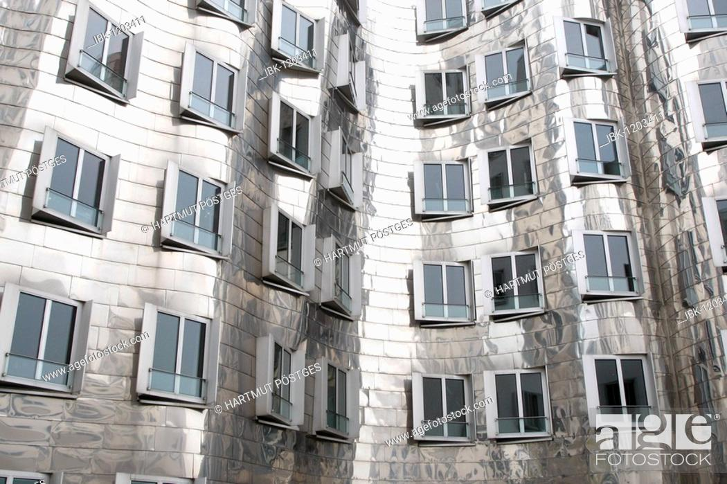 Stock Photo: Gehry buildings, Duesseldorf, North Rhine-Westphalia, Germany, Europe.