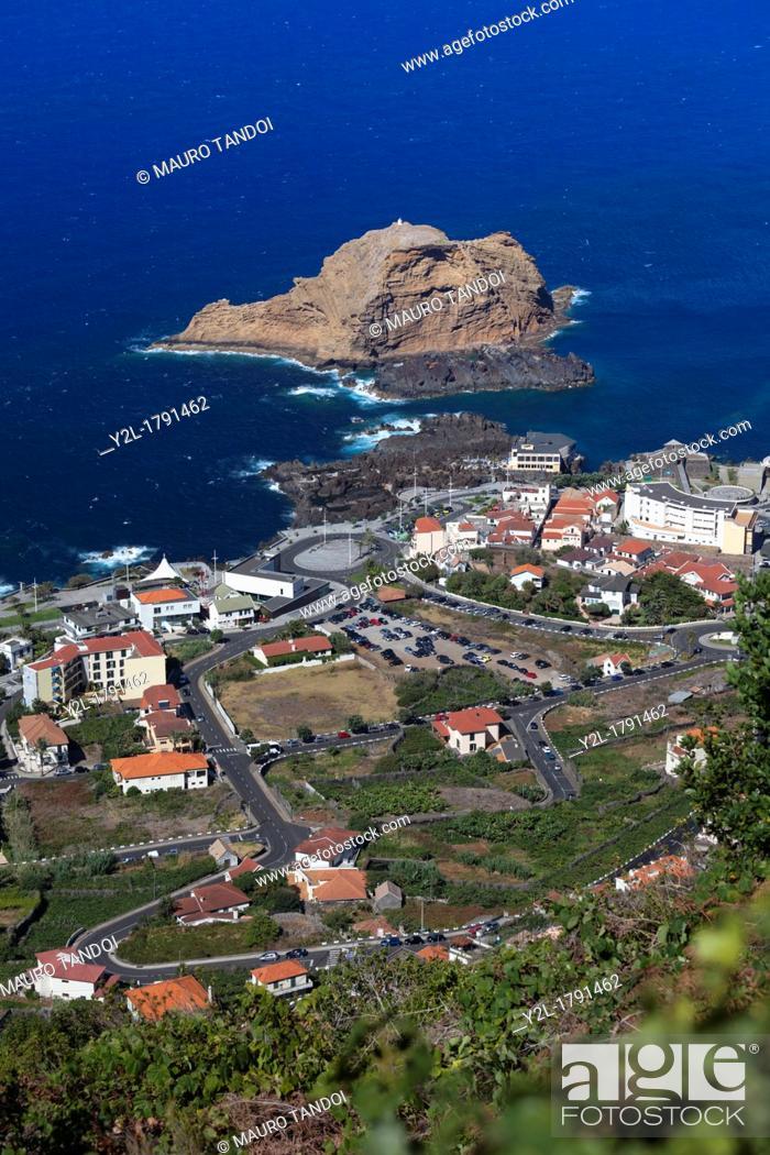 Stock Photo: View of Porto Moniz from above, Madeira, Portugal.