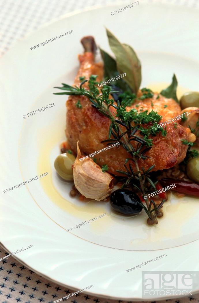Stock Photo: Garnished Chicken Thigh.