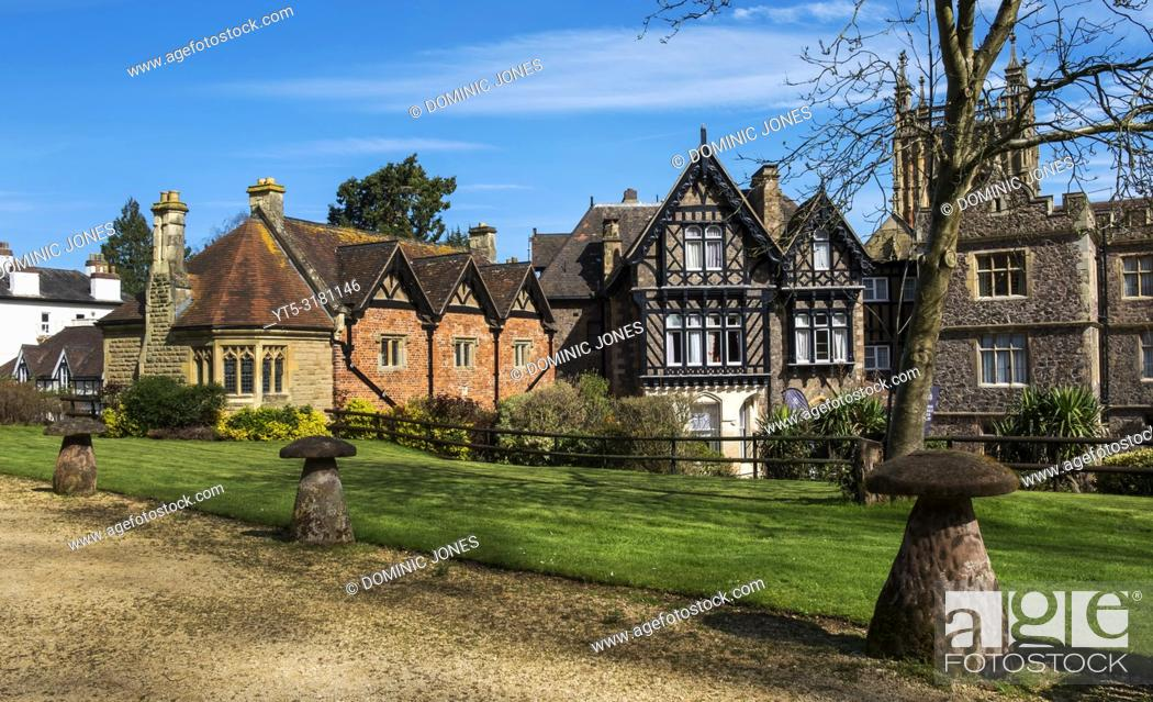 Stock Photo: Great Malvern Priory, Abbey Gateway and Hotel, Great Malvern, Worcestershire, England, Europe.