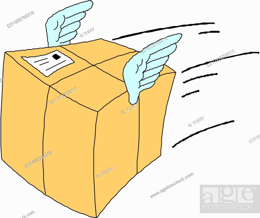 Stock Vector: Shipping package symbol with wings.