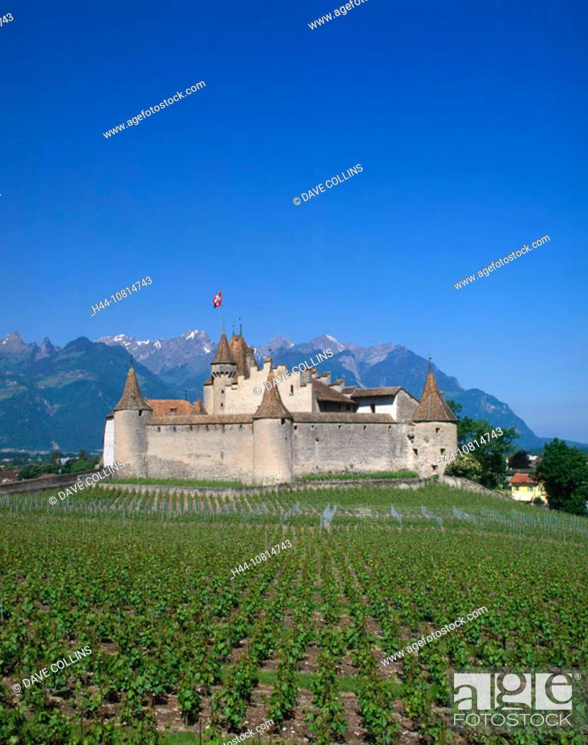 Stock Photo: Chateau, Vineyards, Chateau Aigle, Vaud, Switzerland, Europe, Europe.