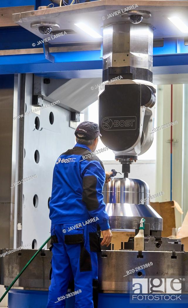 Stock Photo: Machining Centre, CNC, Vertical lathe, Design, manufacture and installation of machine tools, Gipuzkoa, Basque Country, Spain.