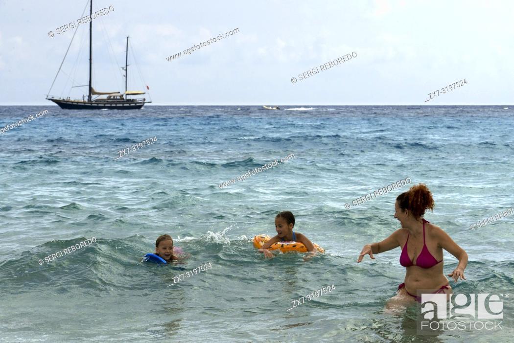 Stock Photo: Sa Roqueta Beach and Ses Illetes Beach, Balearic Islands, Formentera, Spain.