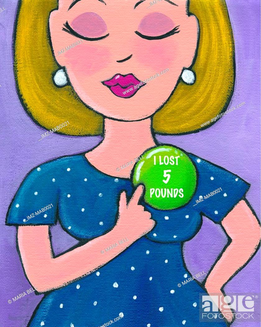Stock Photo: A woman pointing to her weight loss badge.