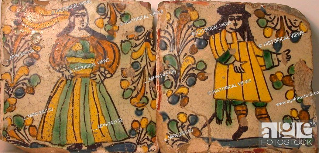 Polychrome Tiles Depicting Male and Female Figures in