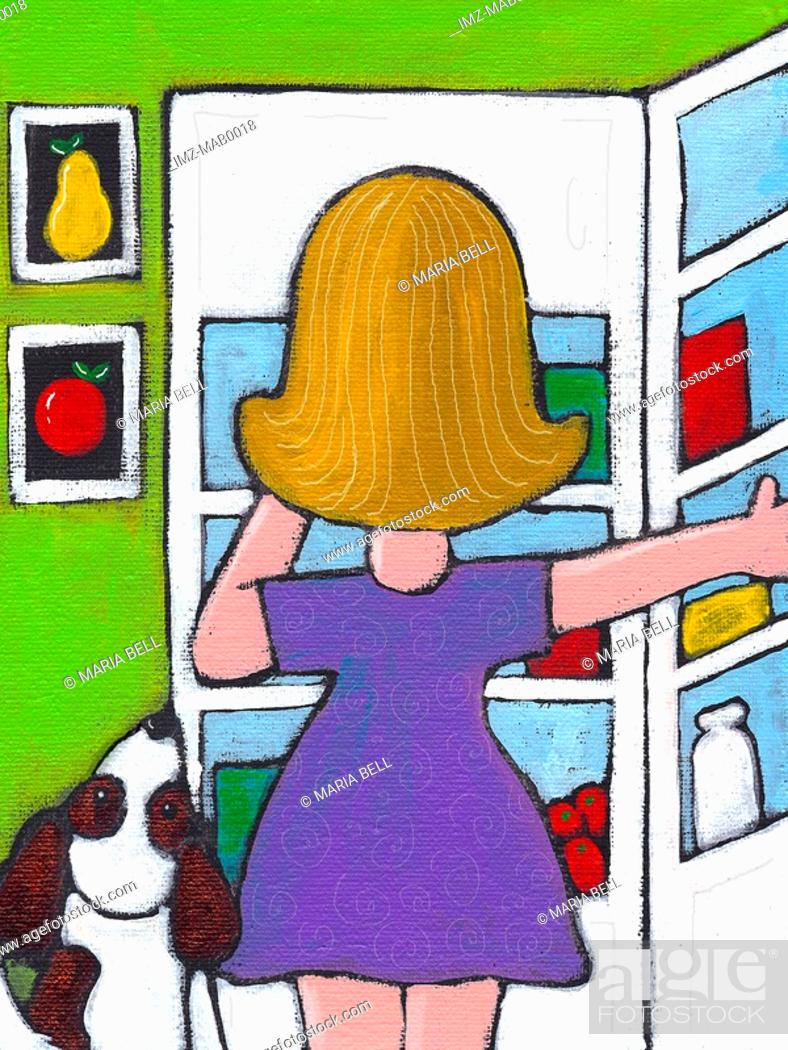 Stock Photo: A woman looking in her fridge.