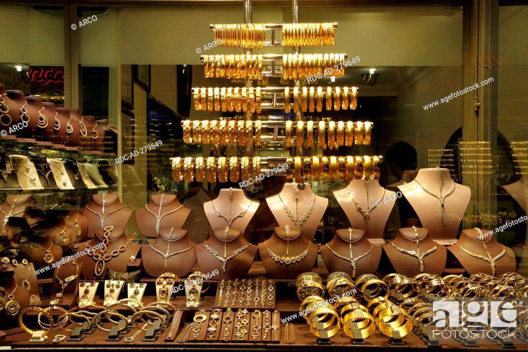 Gold jewellery, bazaar, Bursa, Turkey, Stock Photo, Picture And
