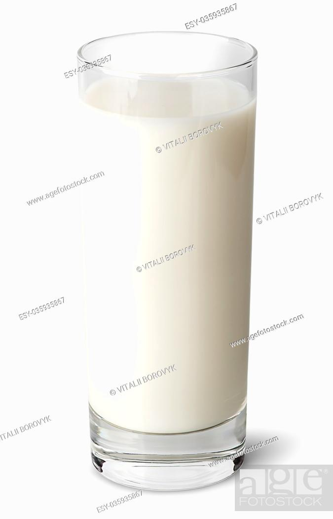 Stock Photo: Full glass of milk isolated on white background.