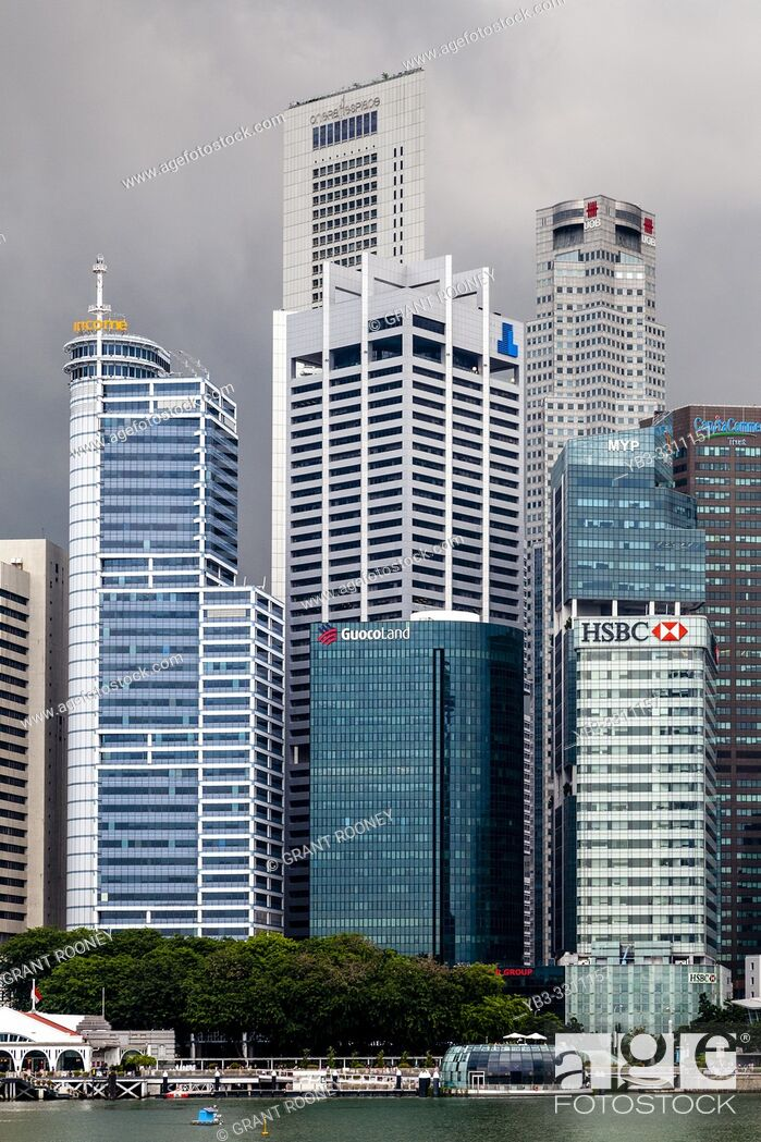 Stock Photo: The Singapore Skyline From Marina Bay, Singapore, South East Asia.