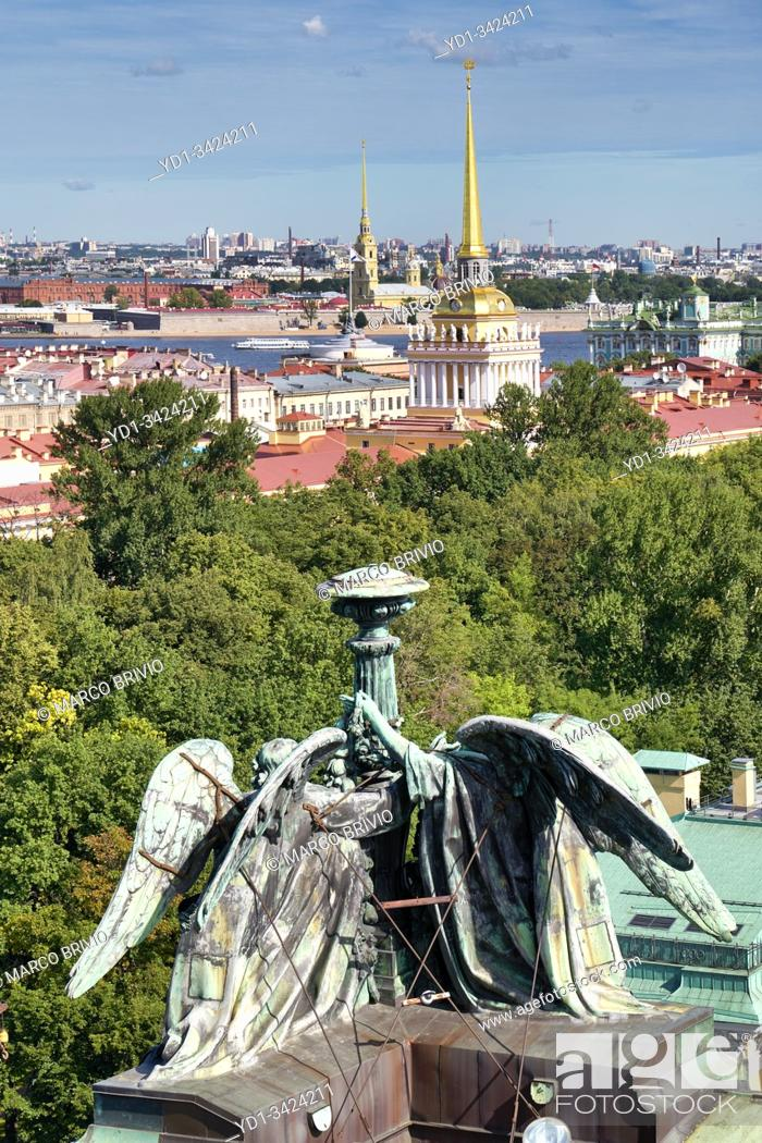 Stock Photo: St. Petersburg Russia. Aerial cityscape. The Admiralty Building.