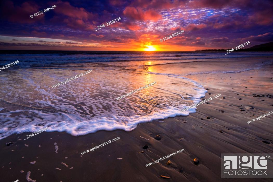 Stock Photo: Sunset over the Channel Islands from Ventura State Beach, Ventura, California USA.