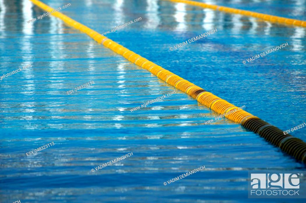 Dividers of paths in the big outdoor swimming pool, Stock ...