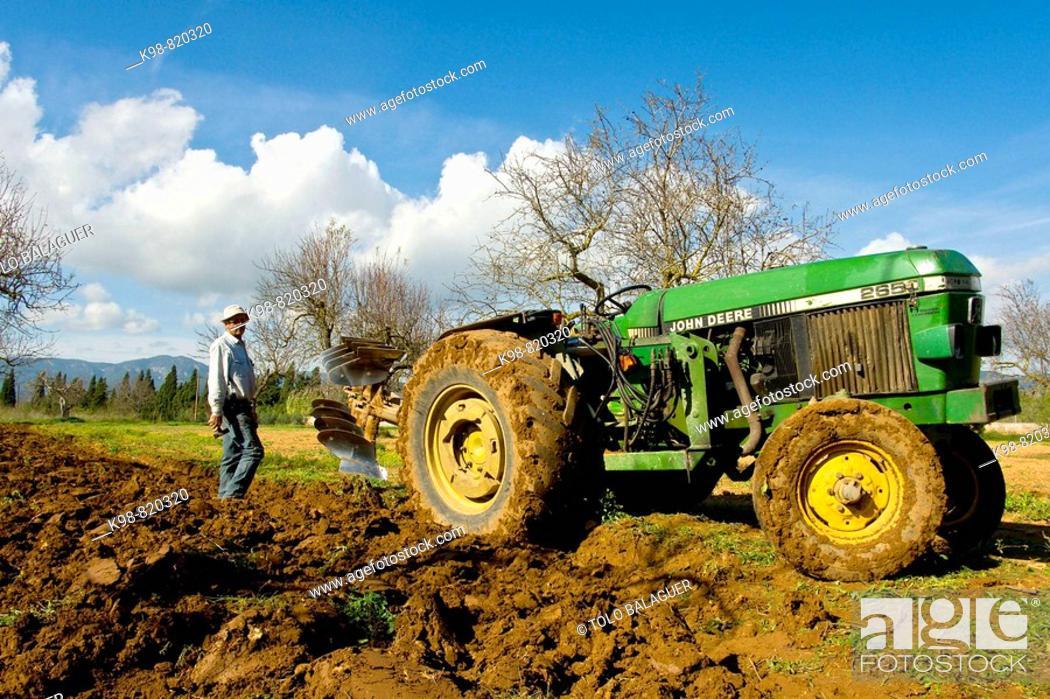 Stock Photo: Farmer ploughing, Son Sardina. Majorca, Balearic Islands, Spain.
