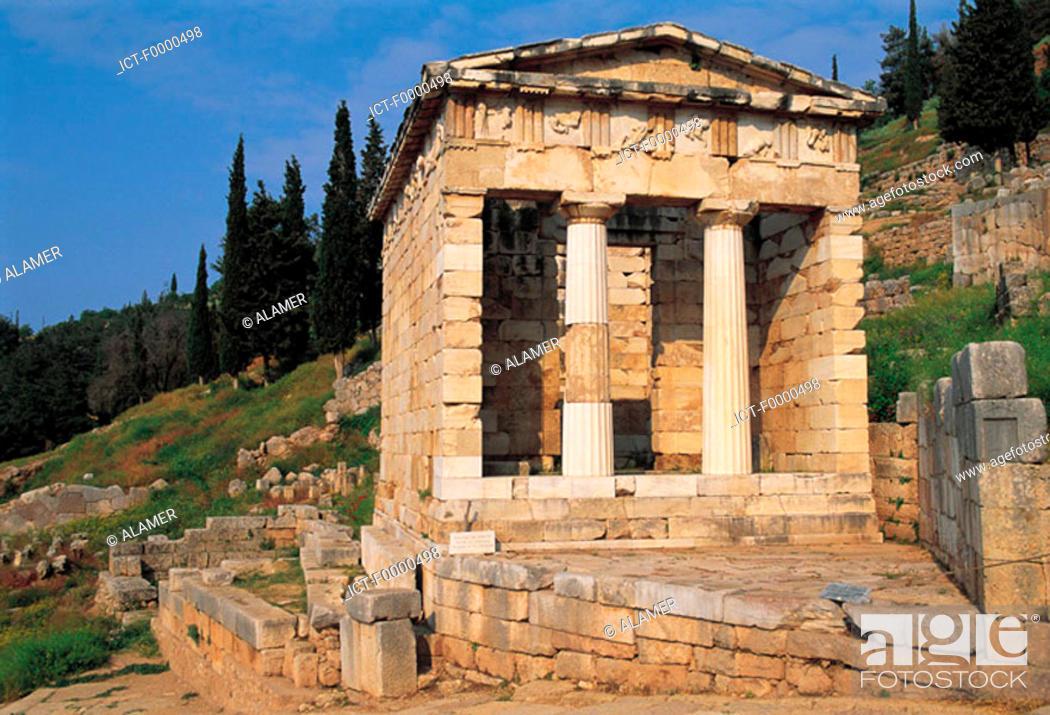 Stock Photo: Delphi, Athenian treasure.