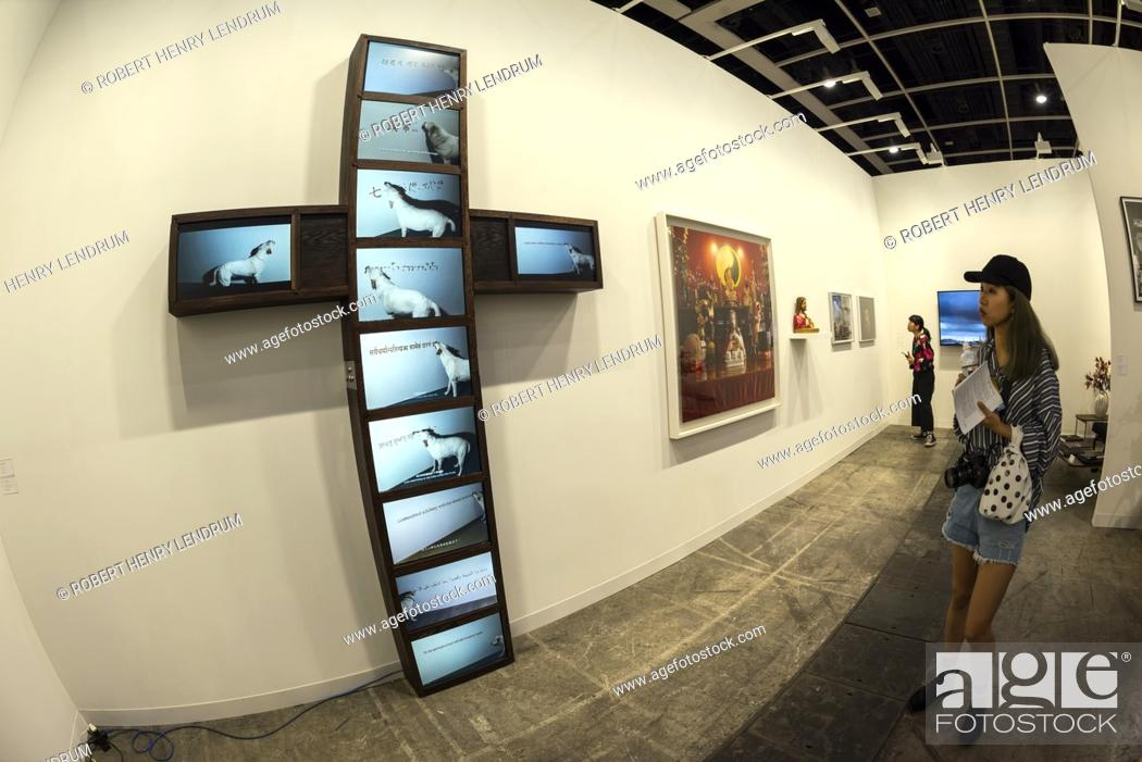 Stock Photo: March 30th, 2018 - Exhibitions at the Art Basel 2018 show, held at the Hong Kong Convention and Exhibition Centre, Wan Chai, Hong Kong.