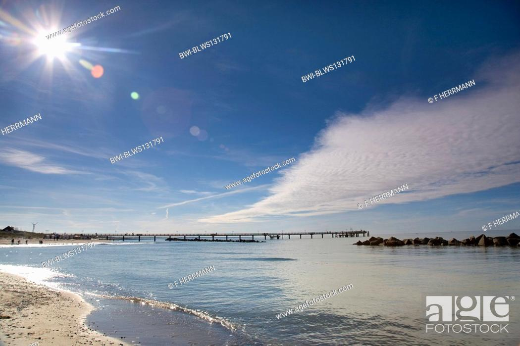 Stock Photo: footbridge at the Baltic Sea with fine weather, Germany, Mecklenburg-Western Pomerania, Baltic Sea, Darss.