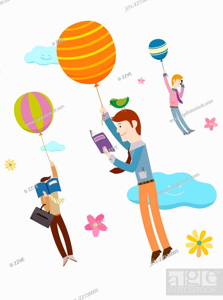 Stock Photo: Balloons and men.