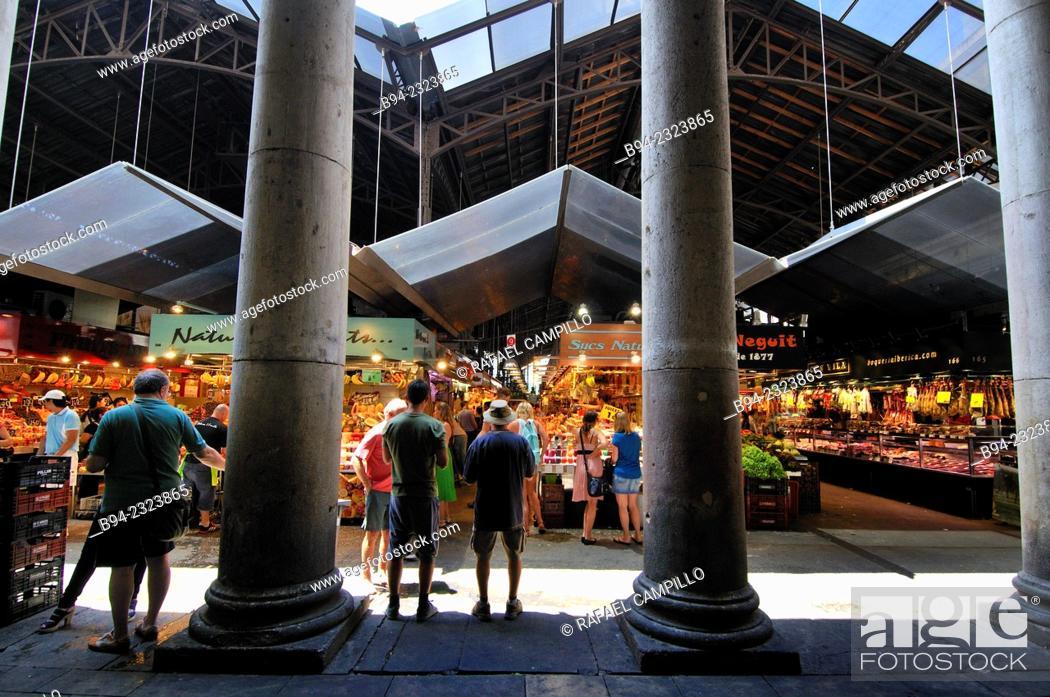 Stock Photo: The Mercat de Sant Josep de la Boqueria, often simply referred to as La Boqueria. Large public market in the Ciutat Vella district of Barcelona, Catalonia.