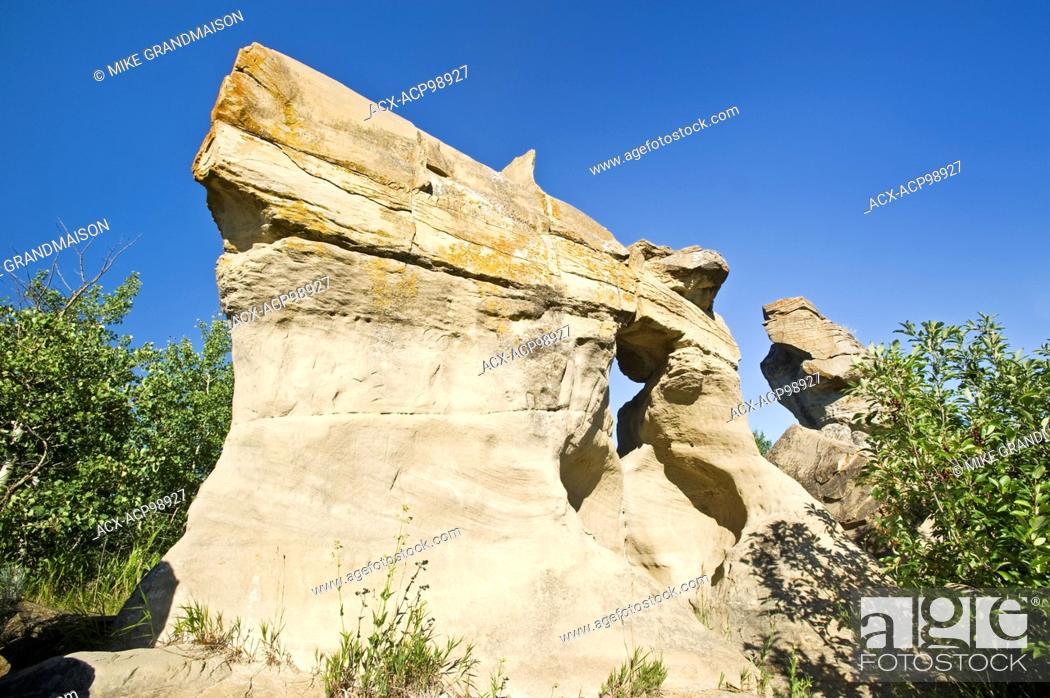 Stock Photo: sandstone rock formation on the prairie Roche Perce near Estevan Saskatchewan Canada.
