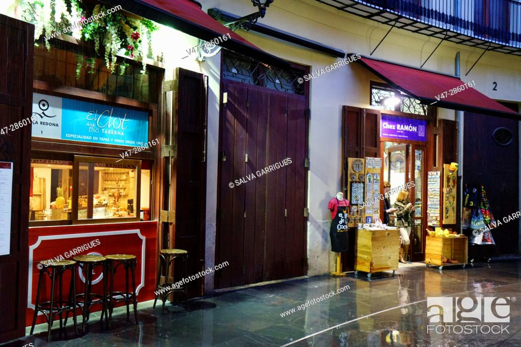Stock Photo: Restaurant in Plaza Redonda, Valencia, Spain, Europe.