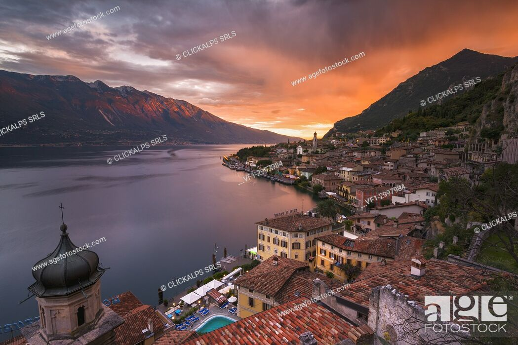 Stock Photo: Limone del Garda at Sunset, Brescia province, Lombardy, Italy.