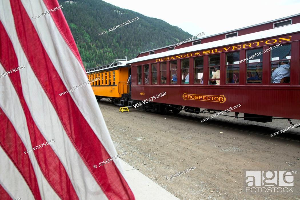 US Flag and Durango and Silverton Narrow Gauge Railroad
