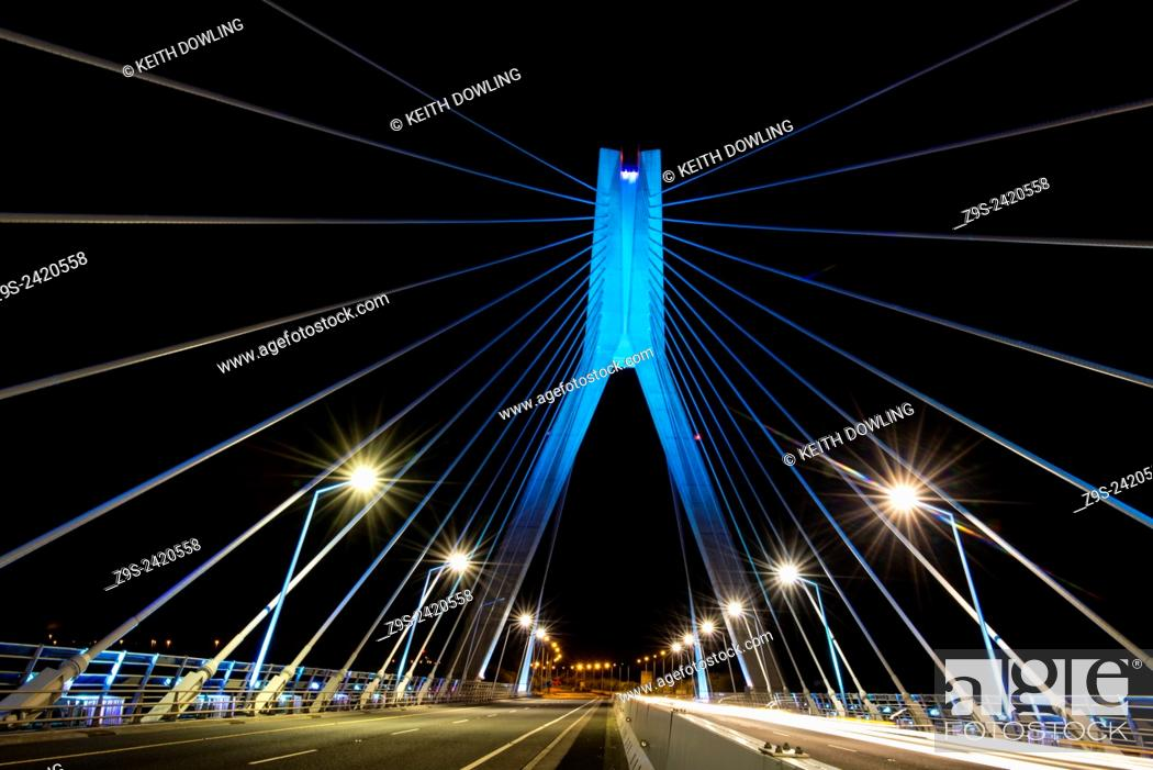 Stock Photo: Suspension Bridge over the river Boyne north of Dublin and near the east coast town of Drogheda.Shot taken late at night to reveal the lighting and the simple.