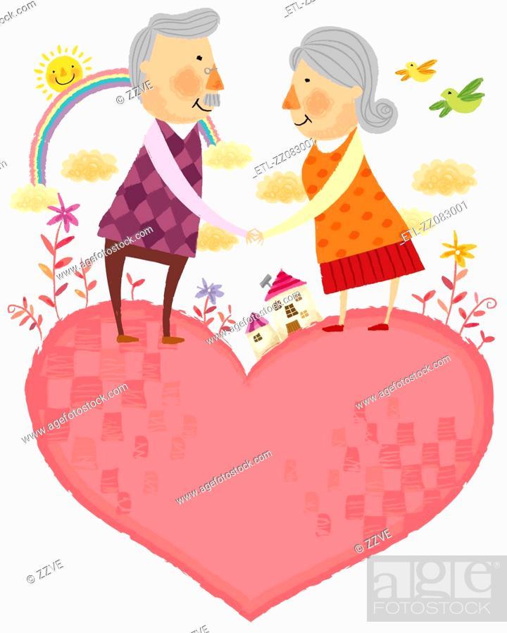 Stock Photo: portrait of elderly couple standing on heart shape.