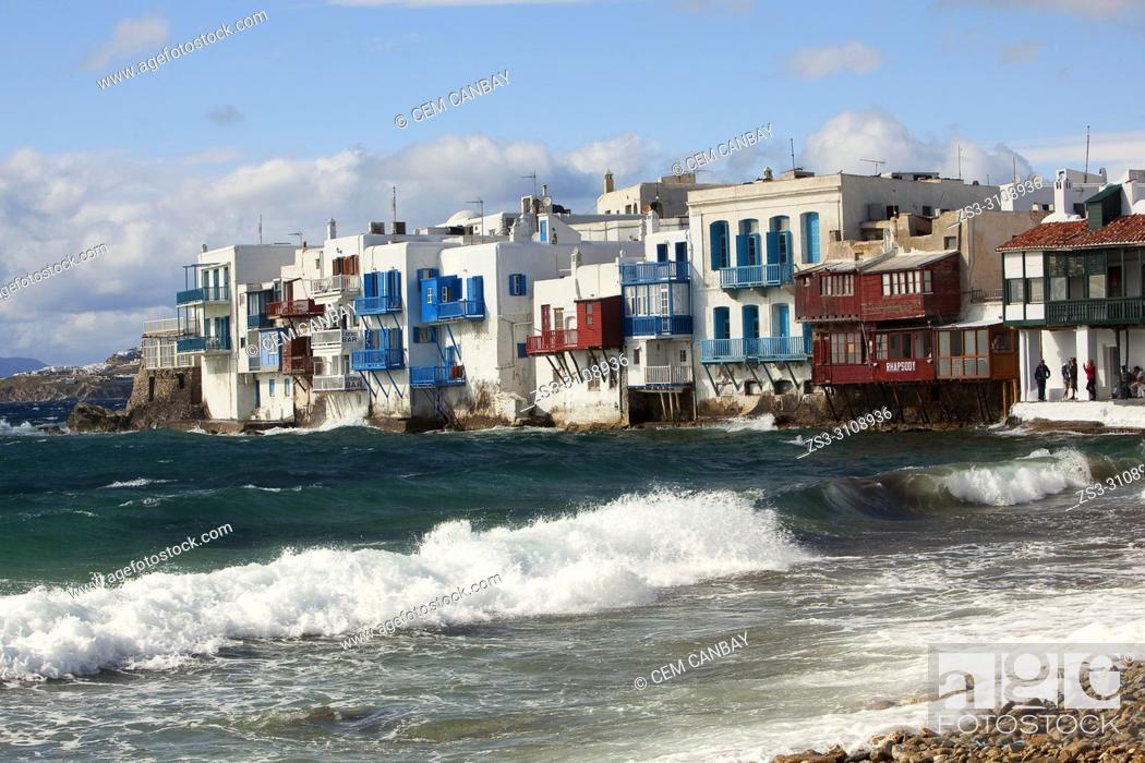 Stock Photo: View to the traditional Cyclades houses by the sea in Little Venice area, Mykonos, Cyclades Islands, Greek Islands, Greece, Europe.