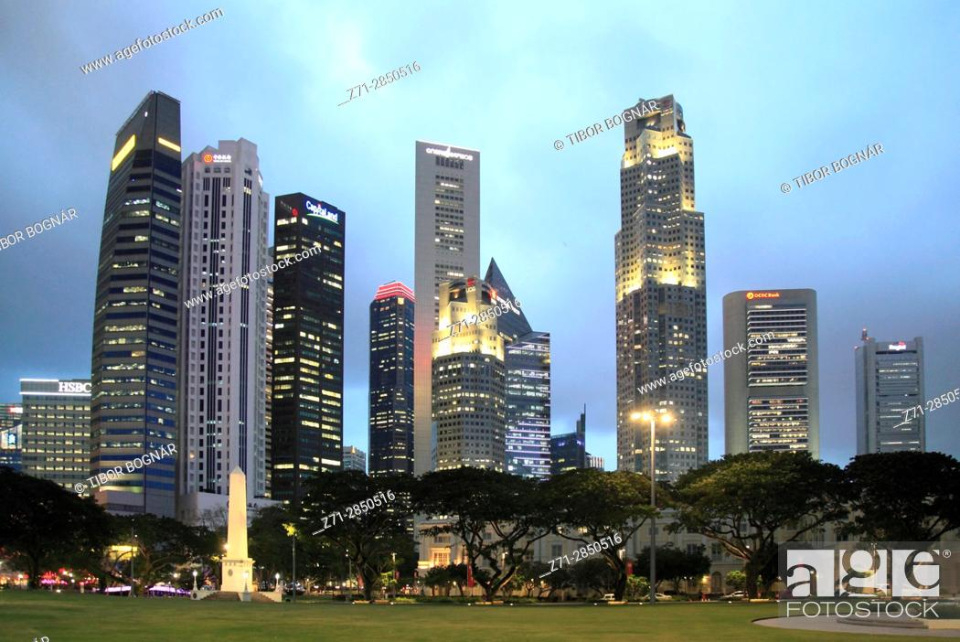 Stock Photo: Singapore, Central Business District, skyline, .