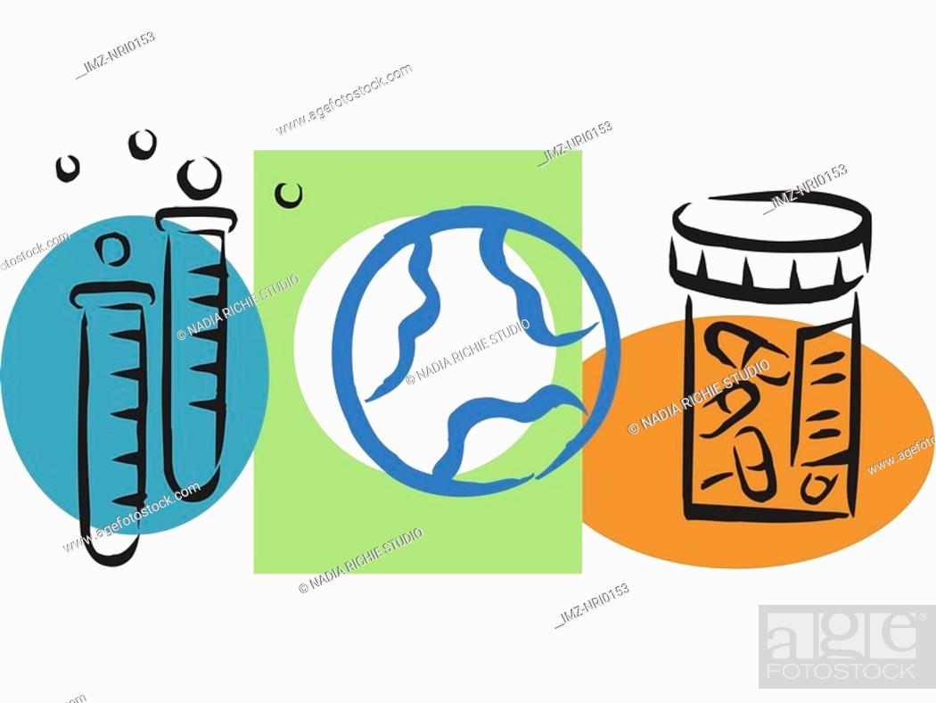 Stock Photo: An illustration of world pharmaceutical research.