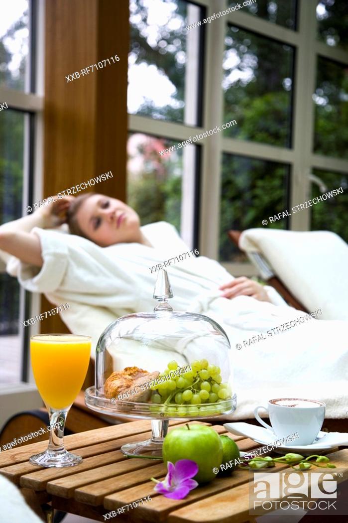 Stock Photo: Breakfast on tarrace.