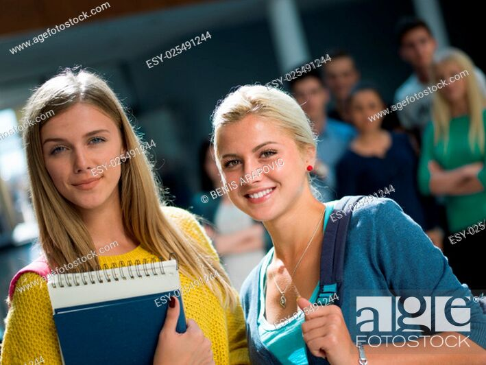 Stock Photo: happy students group study in classroom.