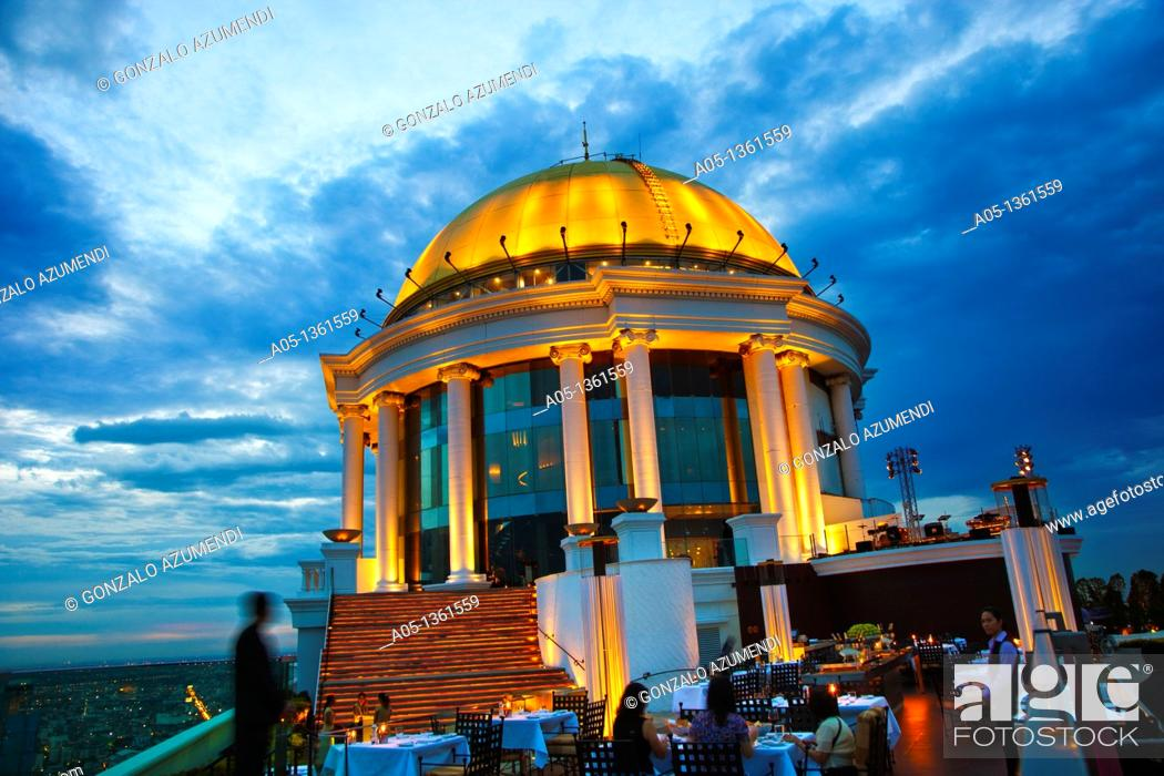 Stock Photo: The Sirocco Bar and Restaurant, State Tower, Silom District, Bangkok, Thailand, Southeast Asia, Asia.