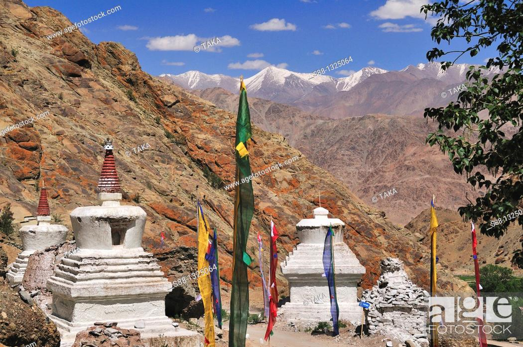 Stock Photo: Hemis village where Tibetan Buddhist high landers lives Even midsummer it is cold and air is thin. Jammu and Kashmir, India.