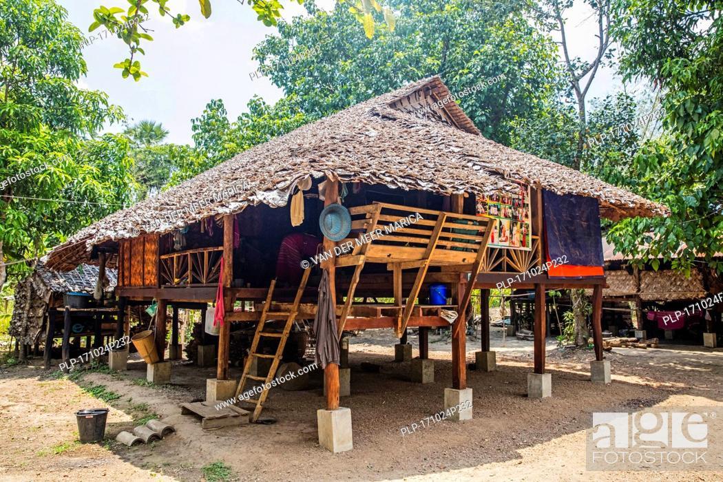 Stock Photo   Traditional Wooden House On Stilts In Kayin Village Near  Hpa An, Kayin State / Karen State, Myanmar / Burma