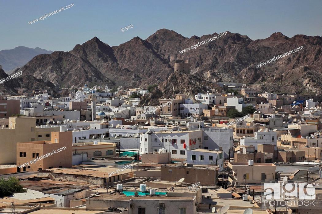 Stock Photo: Skyline of Muttrah, Muscat, Oman, Arabian Peninsula, Middle East, Asia.