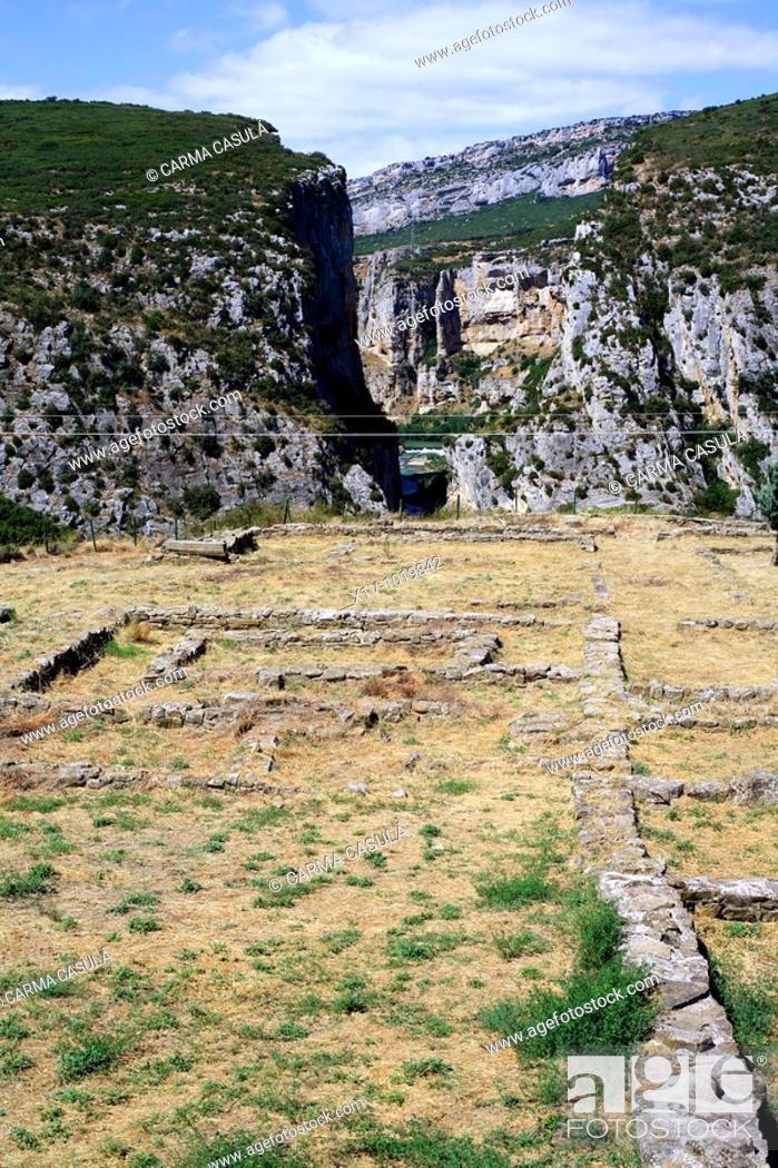Stock Photo: Roman archaeological site by Foz de Lumbier canyon, Navarre, Spain.