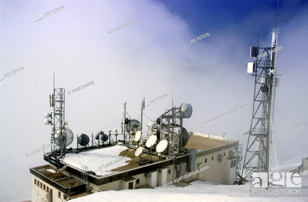 Stock Photo: Communication towers on top of a mountain in the French Alps, Chamrousse, France.