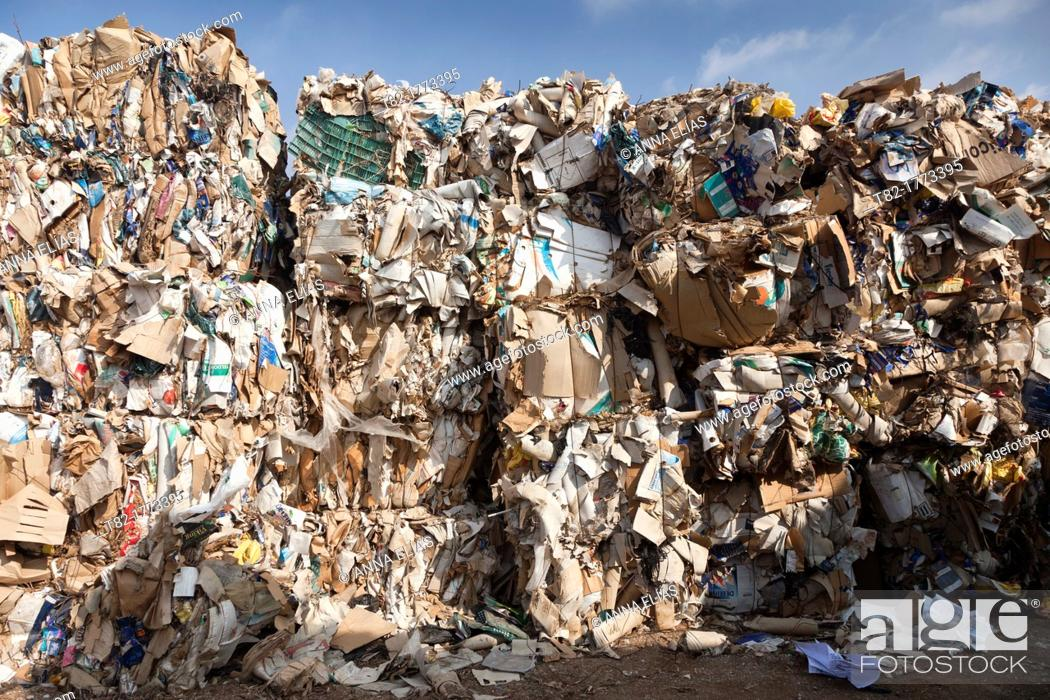 Stock Photo: number of bales of paper recycling plant grouped, Almería, Andalusia, Spain, Europe.